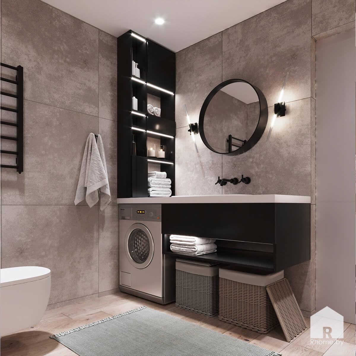 Квартира в Новой Боровой. Ванная комната с плиткой под камень и зеркалом