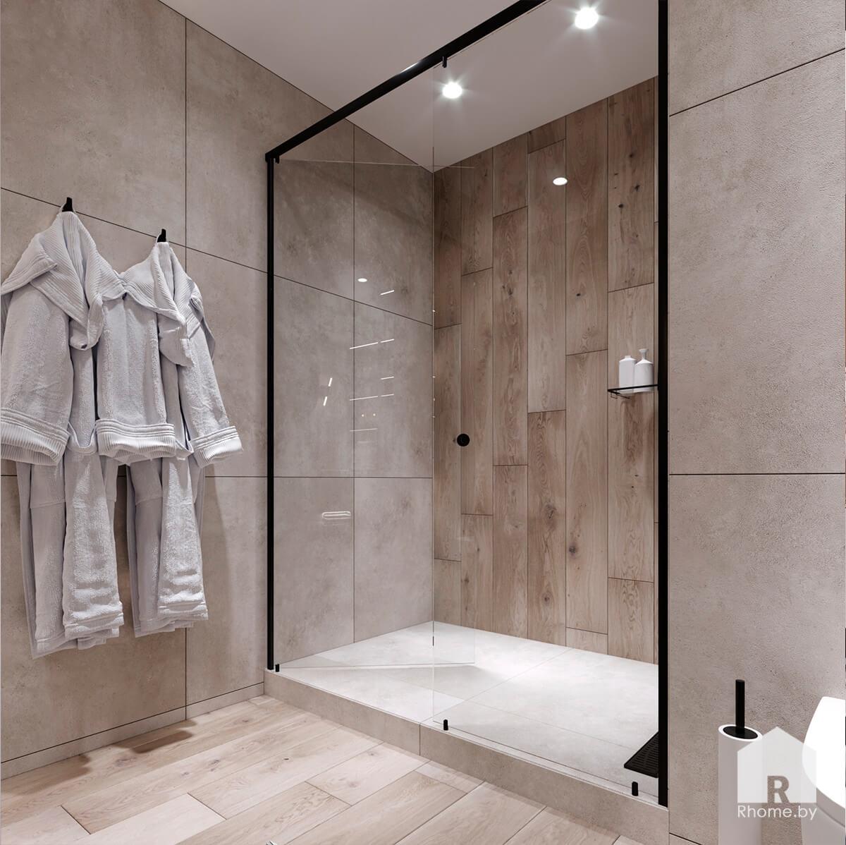 Квартира в Новой Боровой. Ванная комната с плиткой под камень