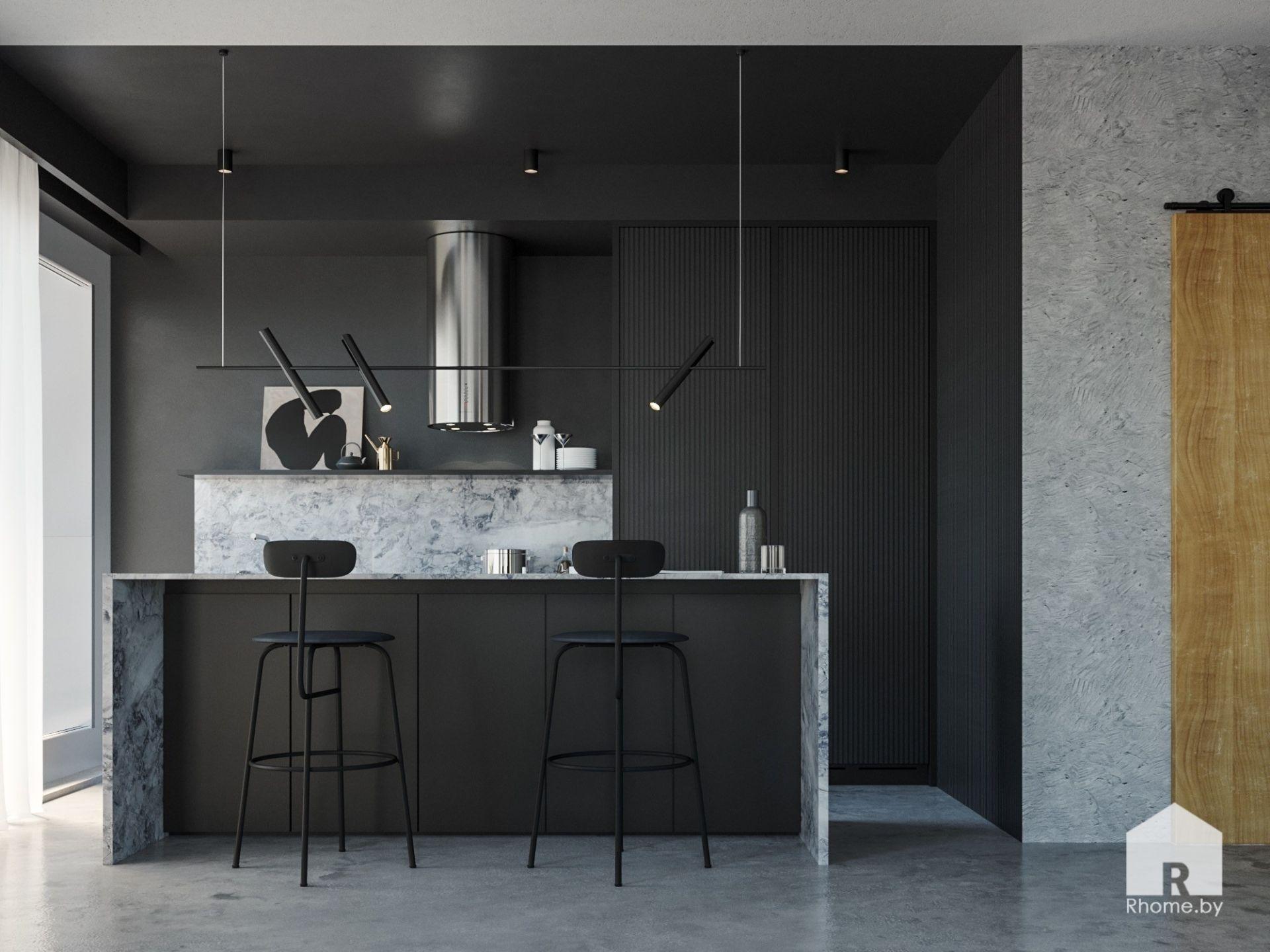 Зона кухни с рабочей зоной-островом и черными стенами и черным подвесным светильником.