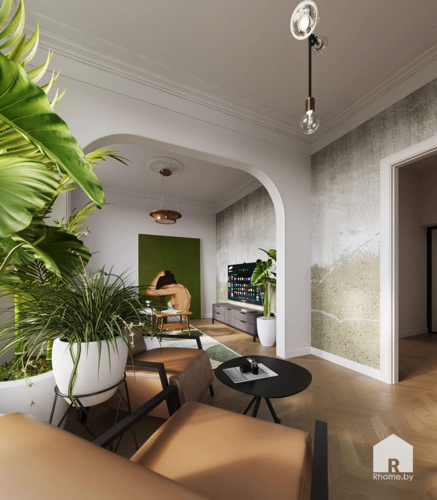 Гостиная с аркой, картина, комнатные растения.