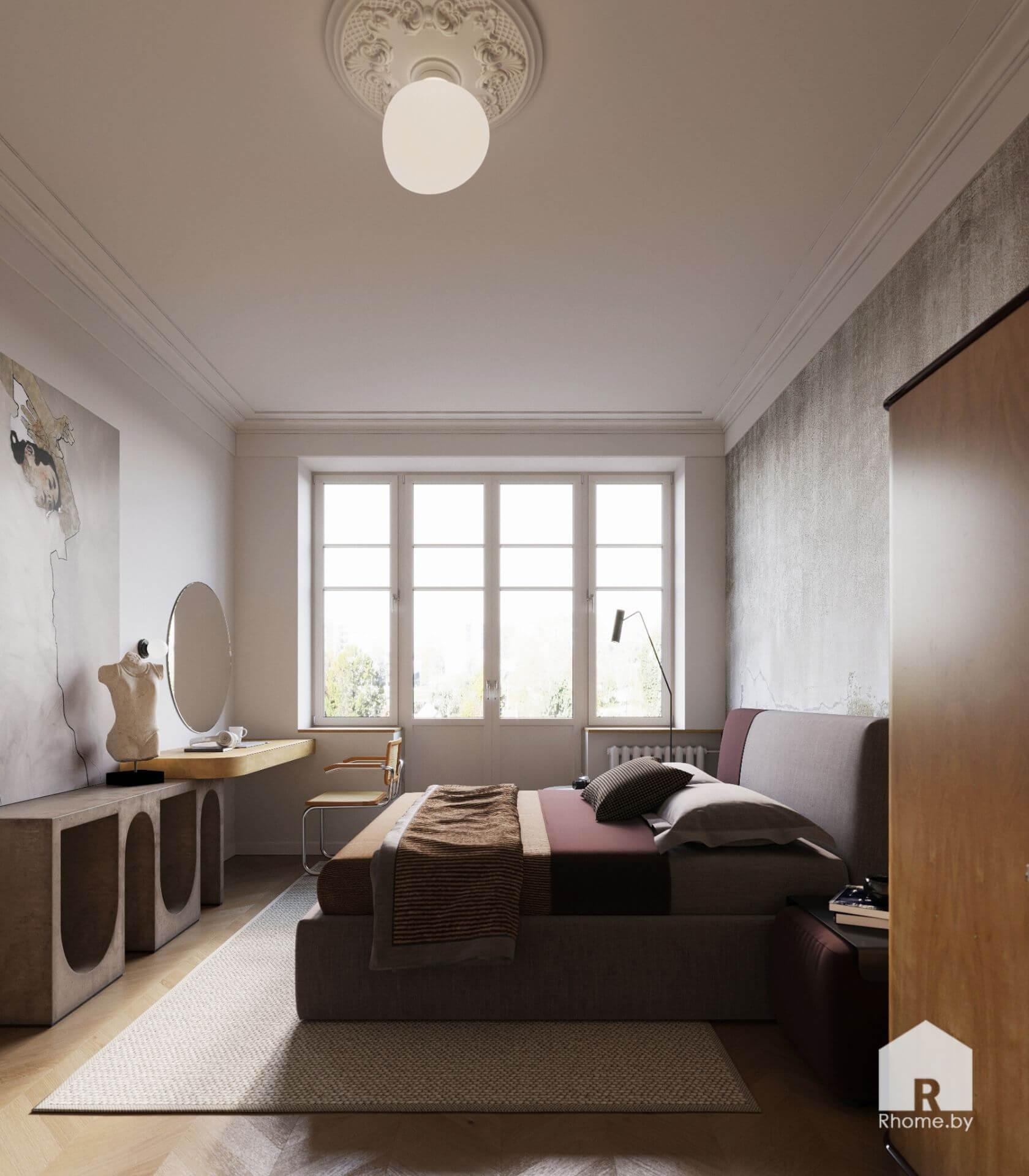 Спальня в серых тонах с большим окном