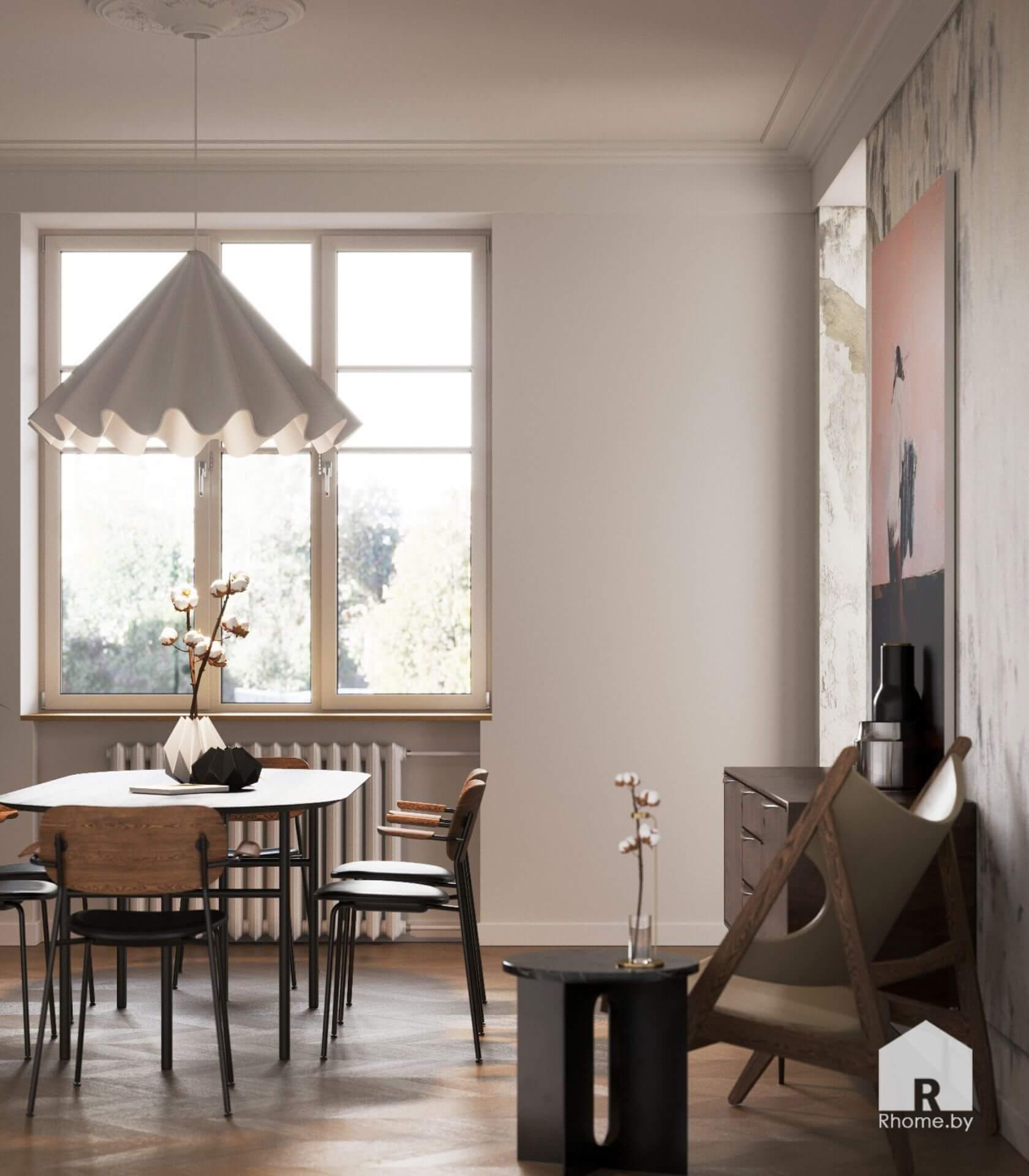 Обеденный стол на фоне окна, над которым расположен белый светильник похожий на юбку.