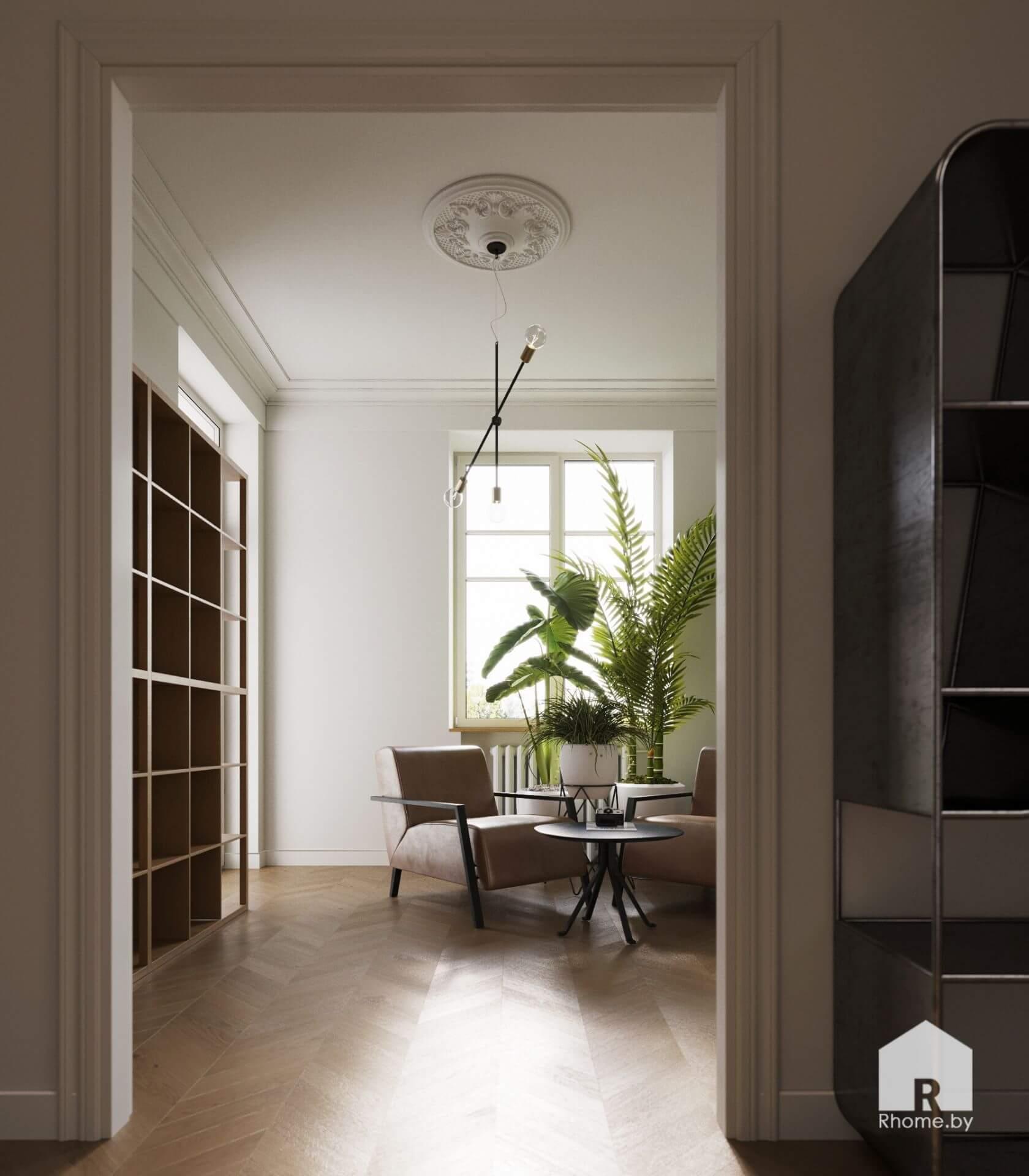 Вид на библиотеку из коридора: окно, минималистичная люстра, книжная полка, кресло и кофейный столик.