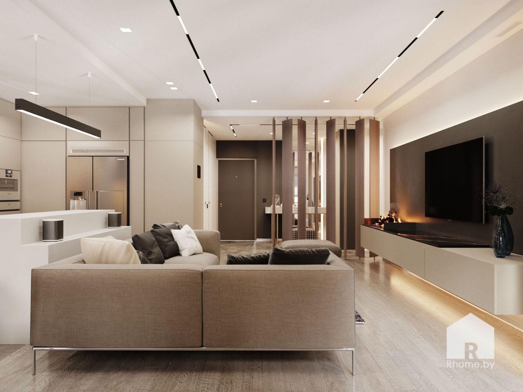 Большая гостиная в бежевых тонах с диваном, телевизором и эклектрокамином