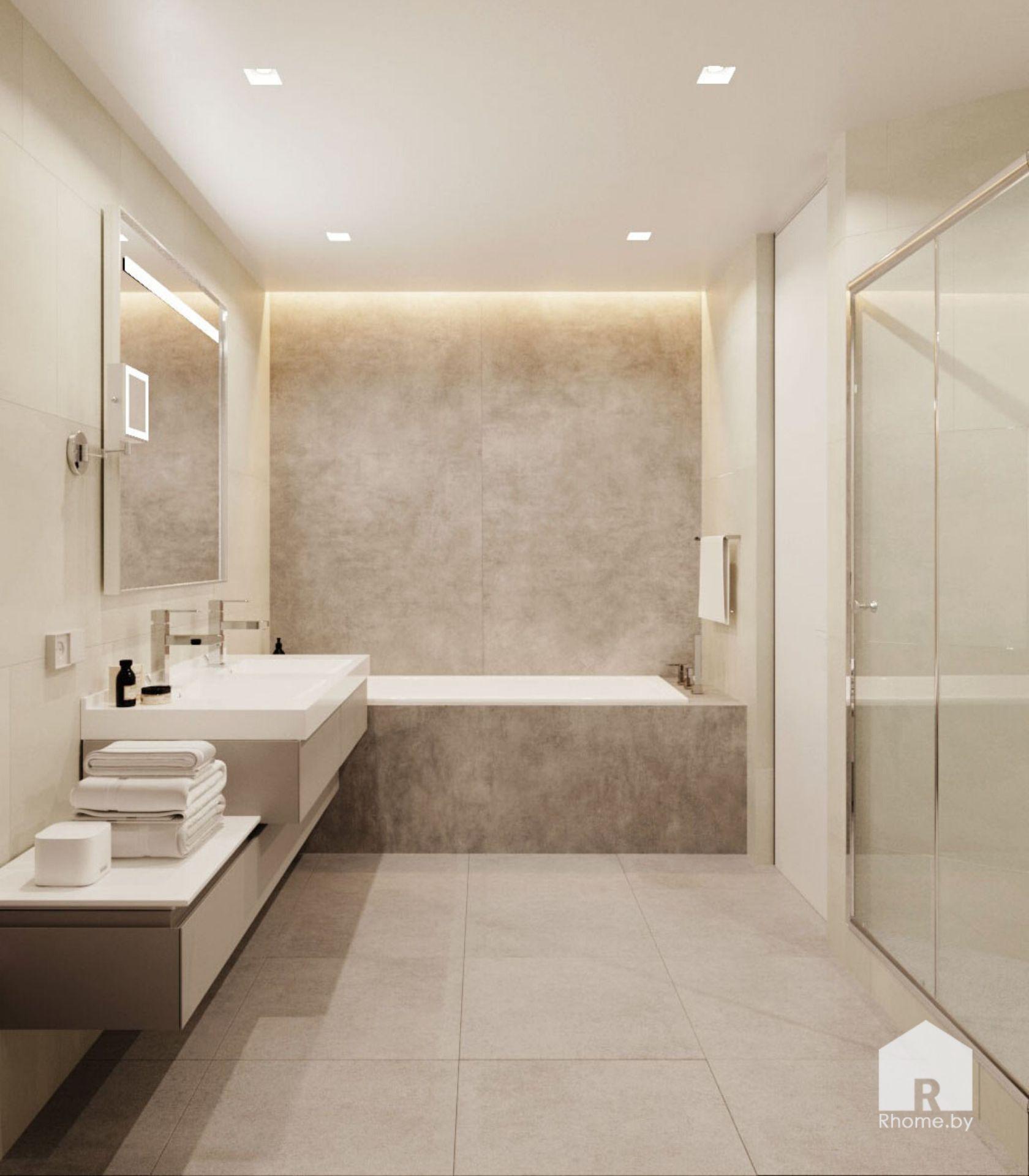 Ванная комната облицованная плиткой под камень