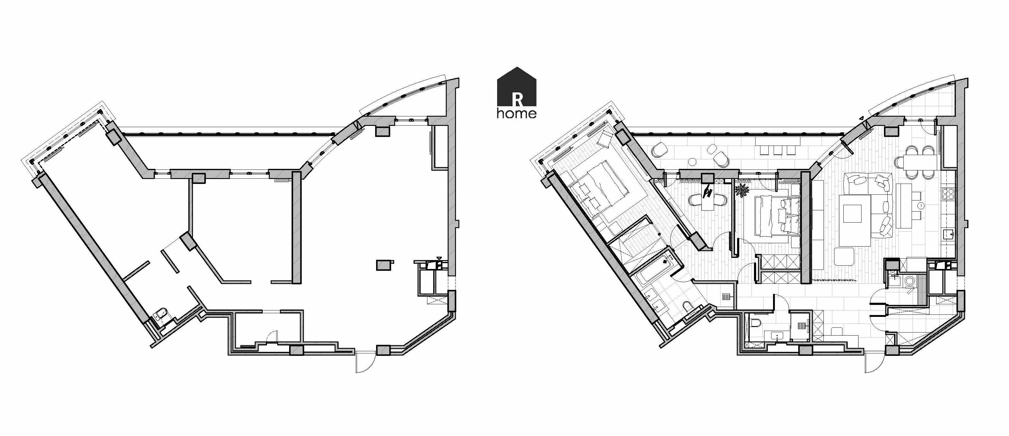 План квартиры до и после разработки дазайн проекта