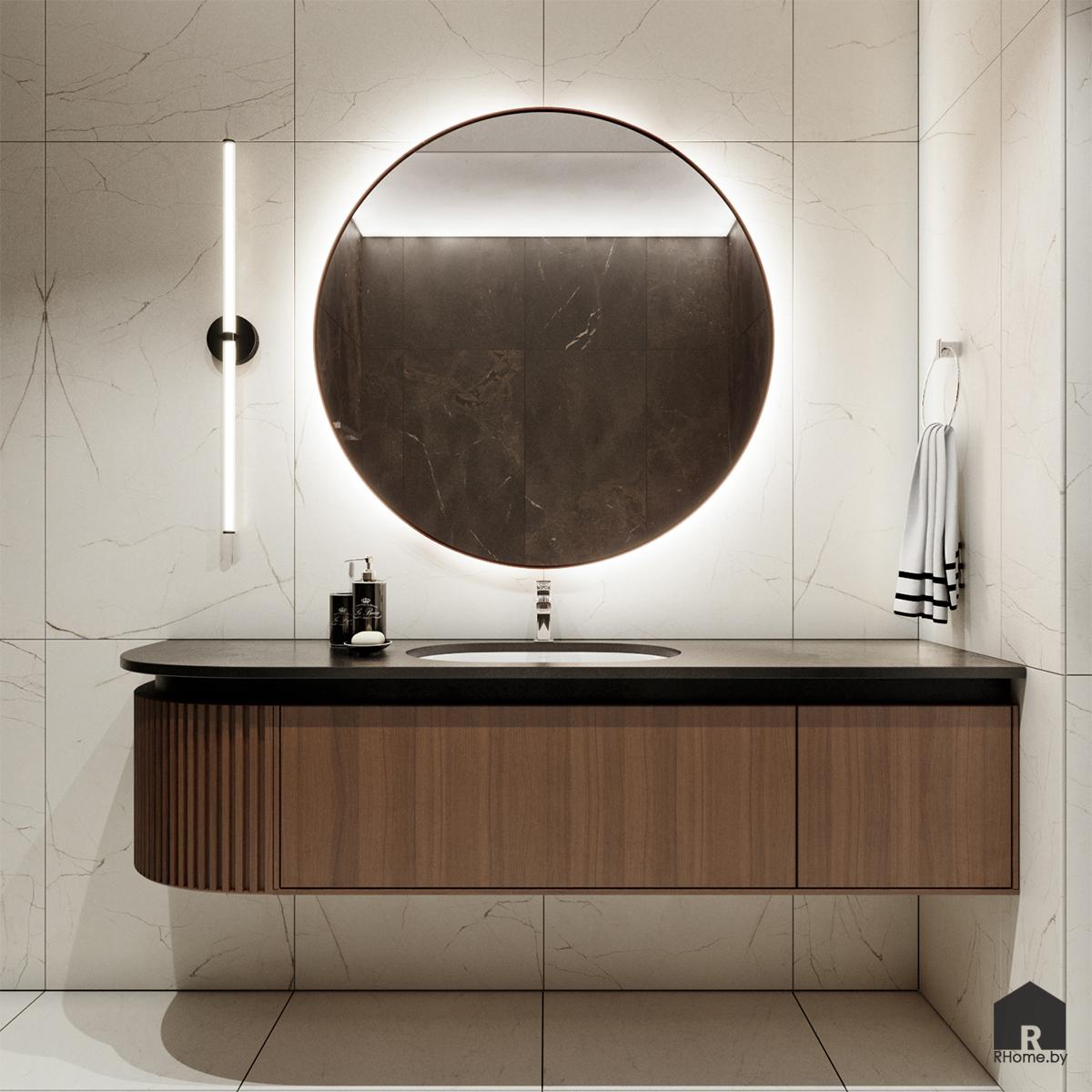 интерьер ванной умывальник с круглым зеркалом