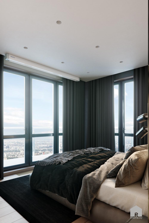 панорамные окна в пол в интерьере спальни